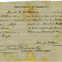 Certificate of Disability for Daniel B. Boultinghouse